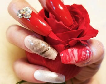 Red and pink blooming rose Press On Nails