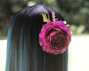 Purple Wild Rose Hair Clips