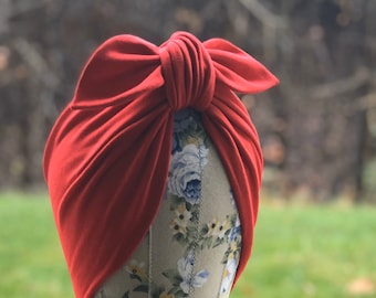Rosie Knot Full Coverage Turban Hat - Pre Tied Fashion Turban Ready to Wear Hair Scarf - Pinup Rosie the Riveter Retro  Head Scarf