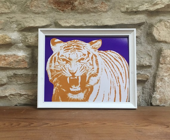 LSU Tigers Print Louisiana State University Tiger Purple  6c1814b0f