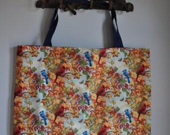 All-purpose reversible waterproof bag - Birds w/ blue handle