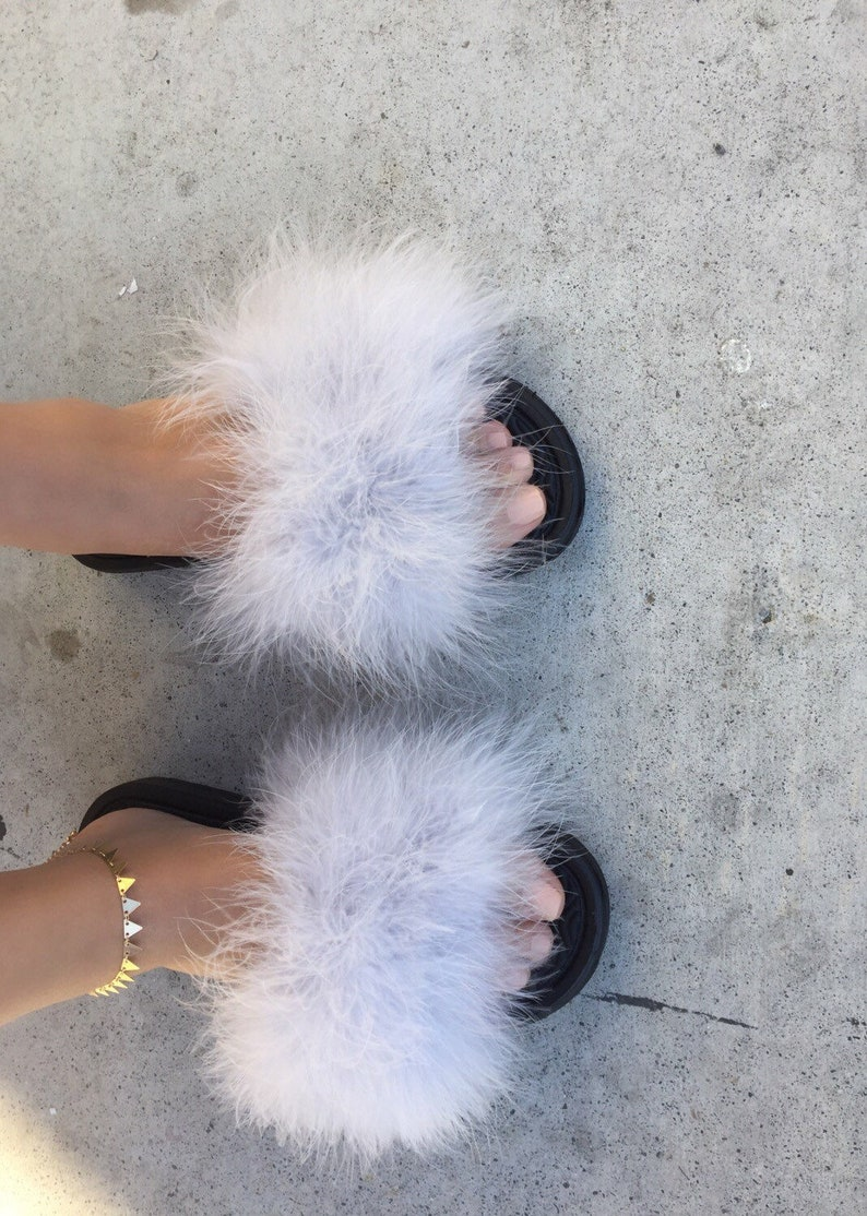 ac641aa8e Summer Trends Fur Slides Slides Gifts for Her Faux | Etsy