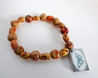 Wooden Beaded Stretch Bracelet With Butterfly Charm