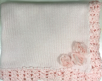 Soft Cotton Baby Blanket, Pink with Roses, Picot Trim, Knit Baby Blanket Throw, Soft Baby Throw, Hand Crochet Trim, Baby Shower Gift