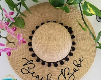 Floppy Beach Hat, Floppy Sun Hat, Bride Hat, Custom Personalized Floppy Hat, Beach Bride, Just Married Hat, Honeymoon Must Have, MANY COLORS