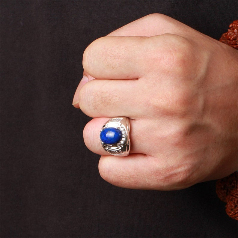 MB22 Sterling silver 18k gold-plated natural lapis lazuli natural zircon men/'s ring.NO