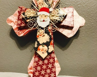Christmas Winter Themed Layered Cross Christmas Seasonal Wall Decor Door Hanger