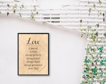 1 Corinthians 13 Print - Printable Christian Wall Art - Bible Verse Wall Art - Love Is Patient - Love Is Kind - Printable Wall Art