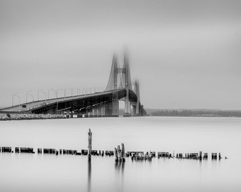 The Mighty Mackinac Bridge in the Fog Michigan Long Exposure Black and White Square