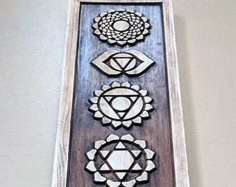 Chakras Wood Carving, Chakra Sign, Chakra Symbols, Meditation, Yoga Decor, Reiki Wall Art, Wood art
