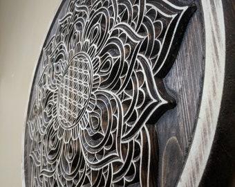 21d3f4f083164 Mandala, Wood Carved Flower of Life Mandala, Sacred Geometric Wall Art,  Meditation Art, Mandala Wall Art, Yoga Wall Art, Mandala Decor,