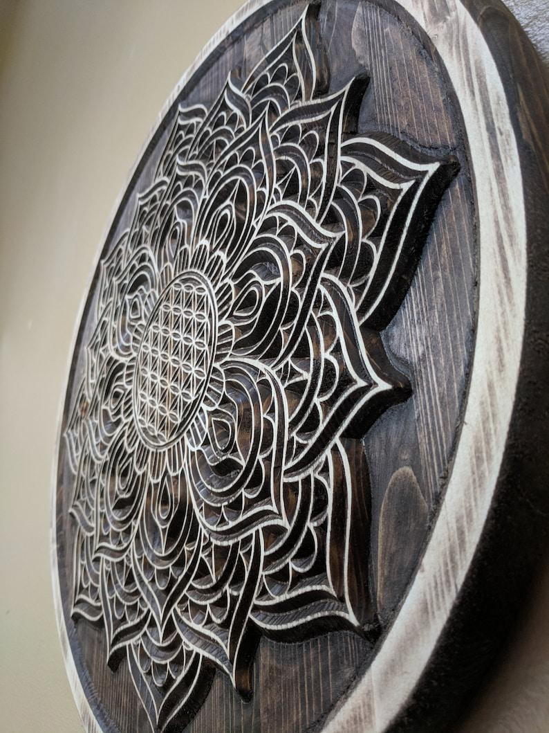 248f9140524b Mandala Wood Carved Flower of Life Mandala Sacred Geometric | Etsy