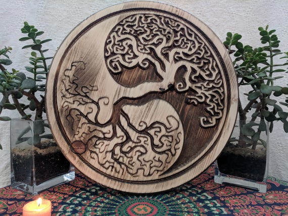 Yin Yang Tree of Life Wood Yin Yang Wall Art | Etsy
