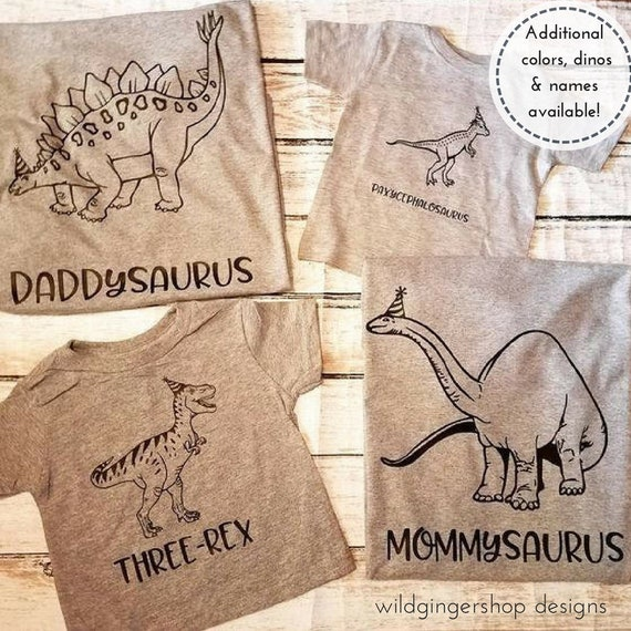 Dinosaur Three-Rex Family T-Shirt Set (4 Shirt Set)
