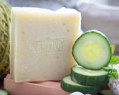 Cucumber + Mint Soap - Certified 100% Natural Pure Vegan Handmade Soap (Cold Process) | Bean and Boy Soap