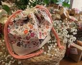 Handmade Drawstring Pouch with Handmade Soap // Self-Care Gift // Handmade, Plastic-free, Vegan Gift Set