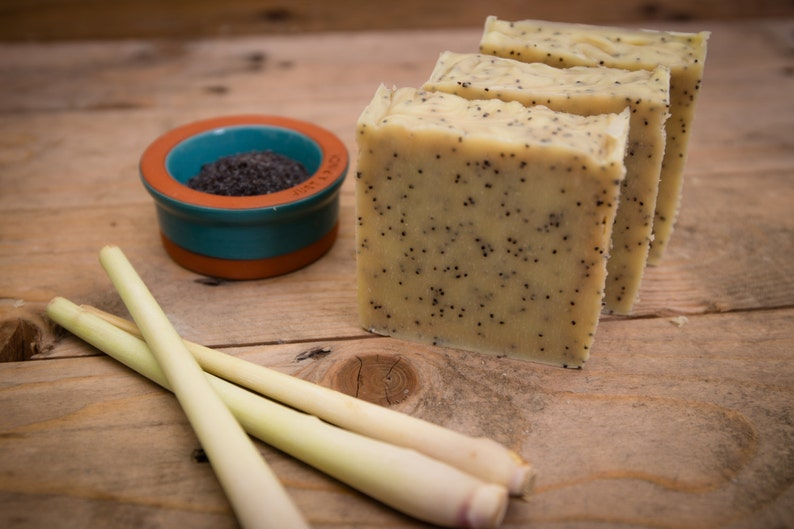 Lemongrass & Poppyseed Soap  Certified 100% Natural Pure image 0