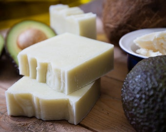Avocado and Shea Butter Unscented Simple Soap for Sensitive Skin   Certified 100% Natural Vegan Handmade Soap   Bean and Boy Soap