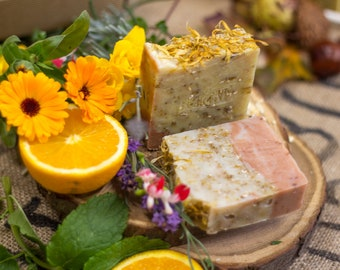 Wildflowers & Oats Soap   Safety Assessed and Certified 100% Natural Vegan Handmade Soap (Cold Process)    Bean and Boy Soap
