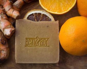 Turmeric & Orange Soap - Certified 100% Natural Pure Vegan Handmade Soap (Cold Process)   Bean and Boy Soap