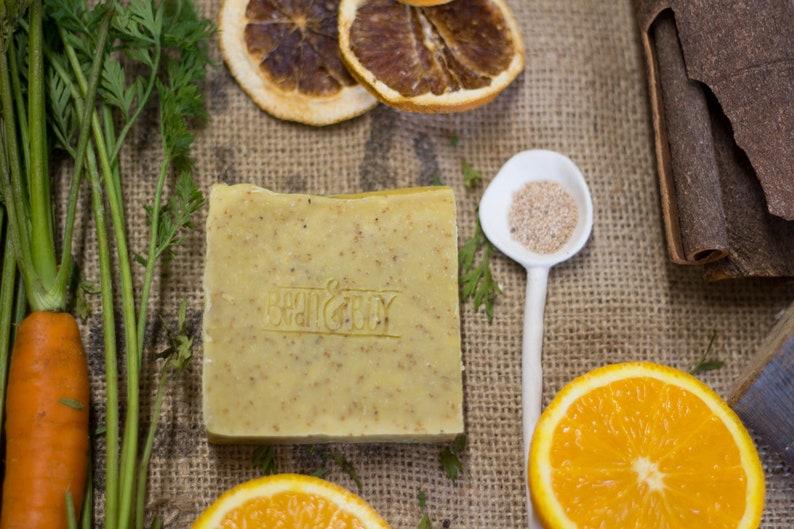 Carrot & Olive Stone Soap  Exfoliating Foot Scrub Bar  image 0