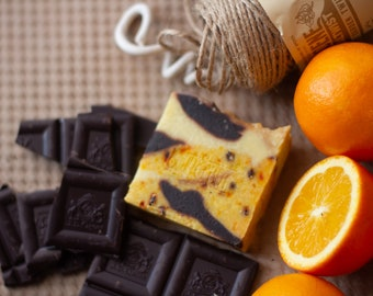 Orange & Cacao Soap   Safety Assessed and Certified 100% Natural Vegan Handmade Soap (Cold Process)   Bean and Boy Soap