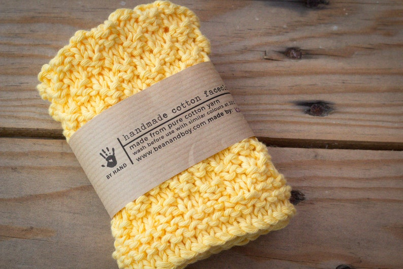 Handmade Knitted Facecloth  100% Pure Cotton for Sensitive image 0