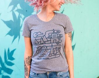 Salem Landmark T-shirt - Women's Cut - Gray