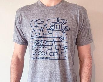Salem Landmark T-shirt - Unisex Cut - Gray