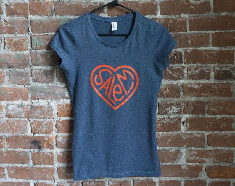 Salem Heart Short Sleeve Shirt  Red on Dark Blue image 0