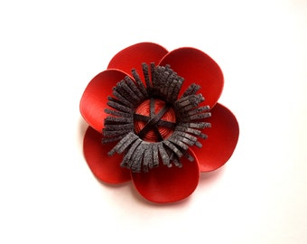 Synthetic leather red poppy brooch