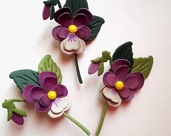 Synthetic leather Pansy brooch