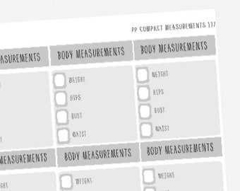Passion Planner Stickers Monthly Body Measurements Fitness Tracker For Classic and Compact