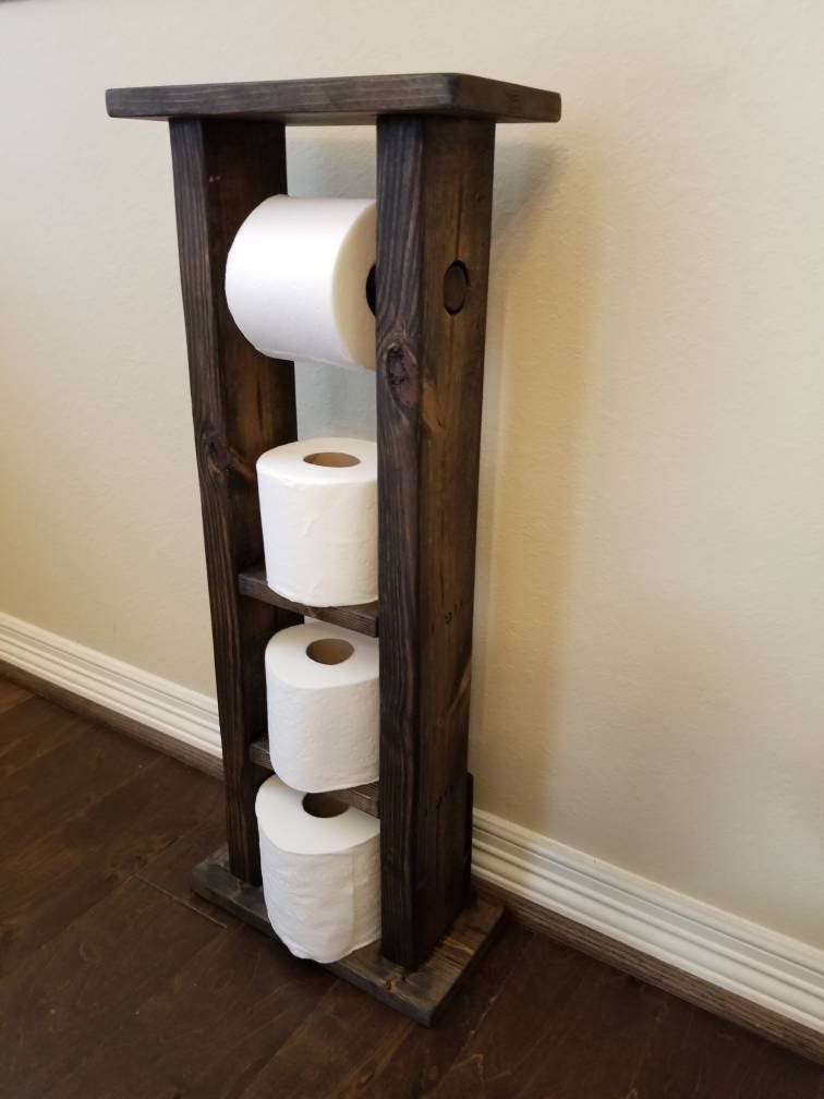 free shipping rustic wood toilet paper holder stand with etsy. Black Bedroom Furniture Sets. Home Design Ideas