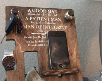 iPhone Samsung Wooden Phone Watch Key Wallet Stand