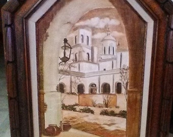 Vintage Original Signed Jean Caroll Byrne Acrylic Oil Painting (of Western Mission and Courtyard) on Board