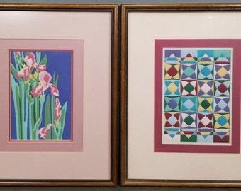 Two Vintage Alice Woodrome Original Quilted Serigraphs/Silkscreens