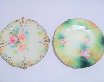 Two Antique R.S. Prussia Red Mark Porcelain Plates, With Flowers and Other Raised Designs