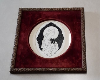 Vintage Original Silhouette/Paper Cutting of Virgin Mary (Holding Lilies), in Style of Artwork of Sister Mary Jean Dorcy & in Gesso Frame