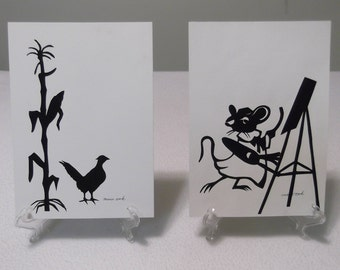 Two Vintage Original Hand-Cut Silhouettes, Signed by Iowa Artist Marie Casey Cook