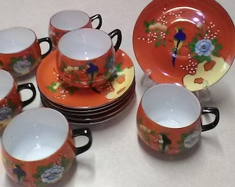 Hard to Find 12-Piece Set of Chikaramachi (Early Noritake) Hand Painted Porcelain Tea Cups and Saucers, With Birds & Flowers, Made in Japan