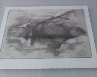 Original D. Darling Signed Limited Edition Monotype Print of Cove