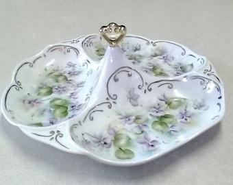 Vintage Chodziez (Poland) Porcelain Divided Snack/Candy Dish
