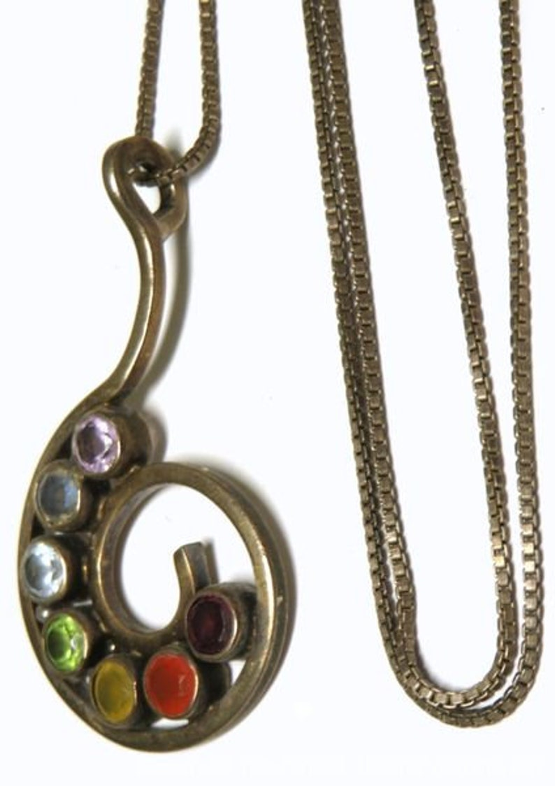 and Swirled Design Vintage Sterling Silver Chain and Sterling Silver Necklace Pendant With Seven Semi-Precious Stones of Various Colors