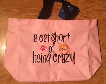 Embroidered Crazy Cat Lady Canvas Tote