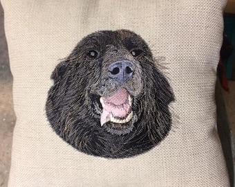 Newfoundland Custom Embroidered Pet Portrait Pillow