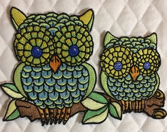 Embroidered owl patch iron on