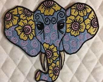 Embroidered Elephant patch. Iron on