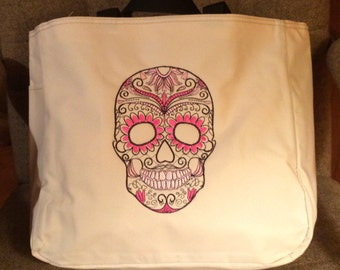 Skull embroidered canvas tote