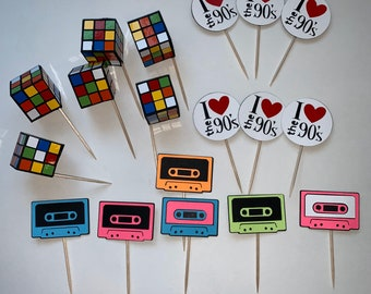 80's/ 90's Themed Cupcake/ dessert toppers